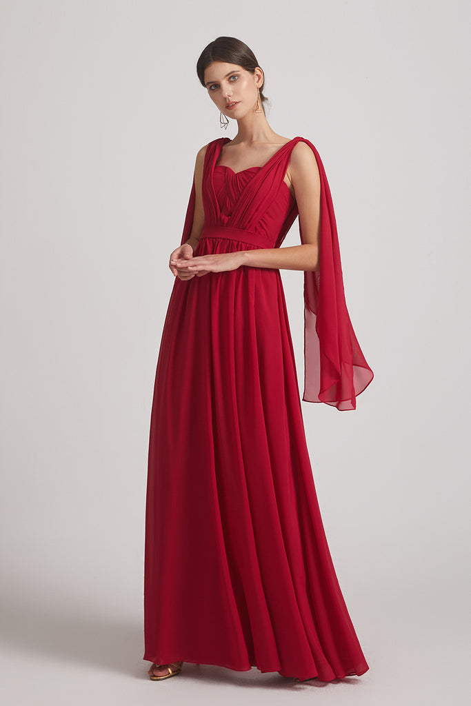 a-line red chiffon dresses for bridesmaid