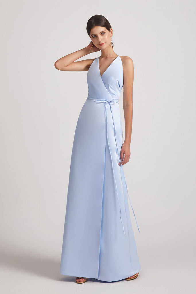sky blue sleeveless a-line satin gowns