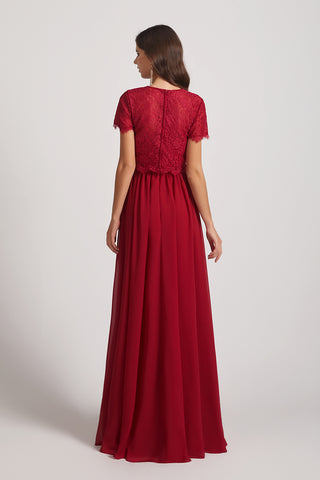 lace top a-line bridesmaid dress