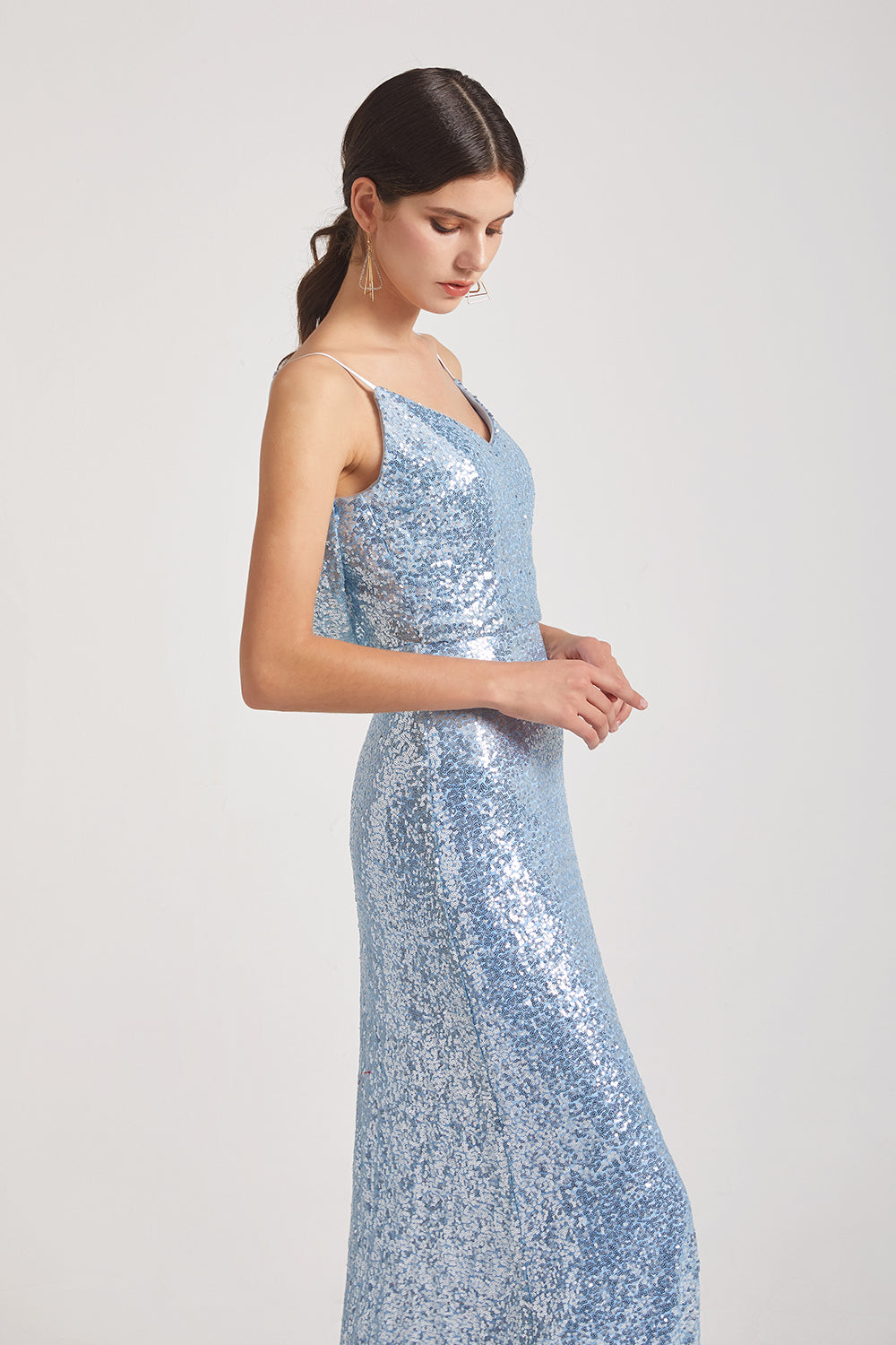 sleeveless a-line blue sequin bridesmaid gown
