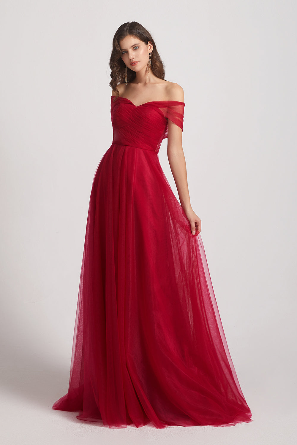 convertible red tulle  bridesmaid dress