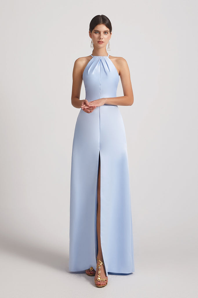 front slit blue satin maid of honor dress
