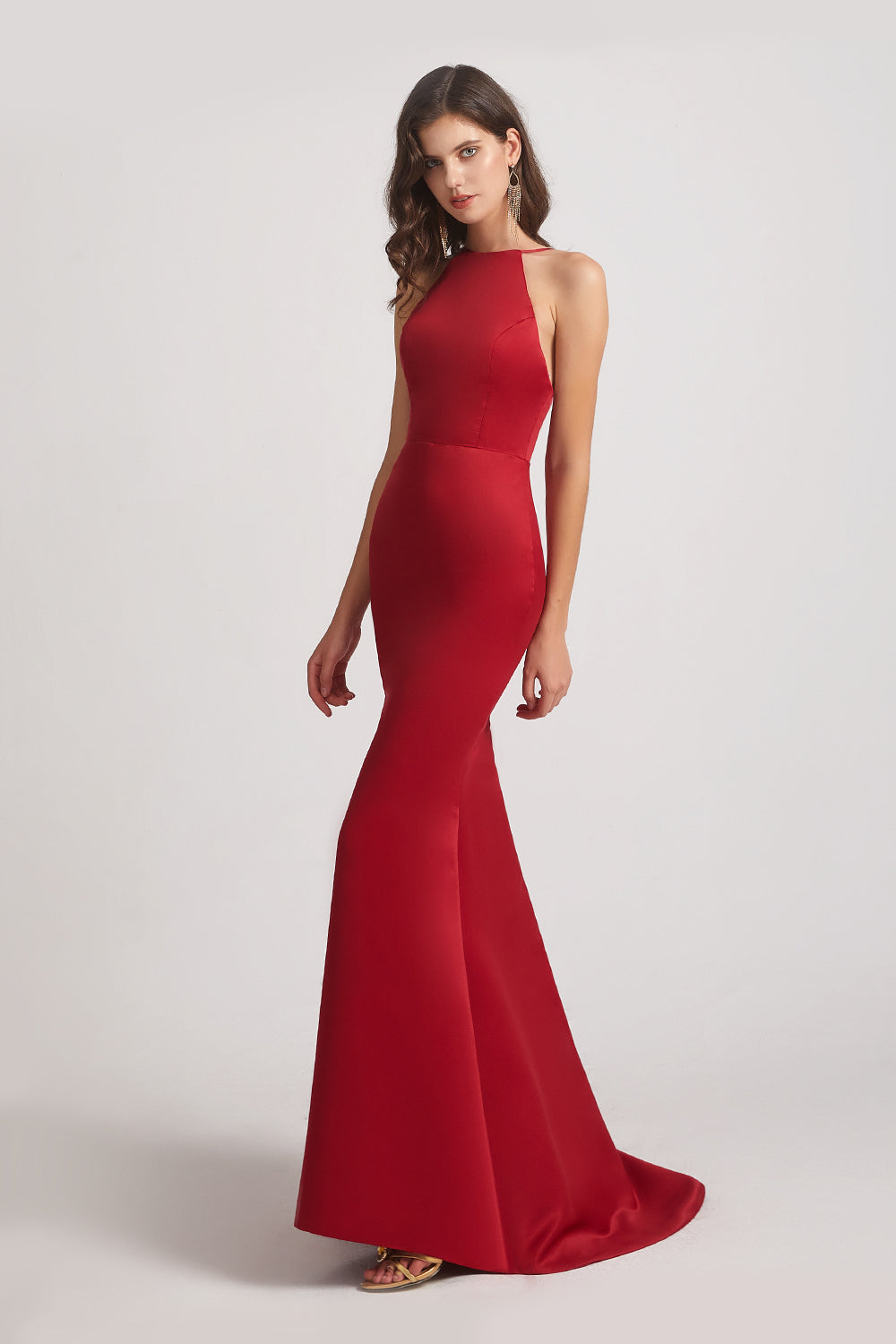 sheath red satin bridesmaids dresses