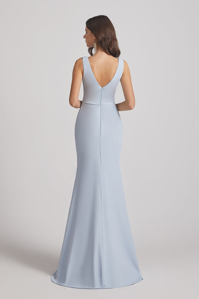 v-back sleeveless satin bridesmaid dress