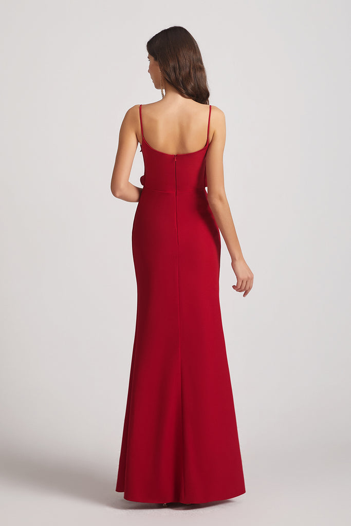 spaghetti straps backless long dresses