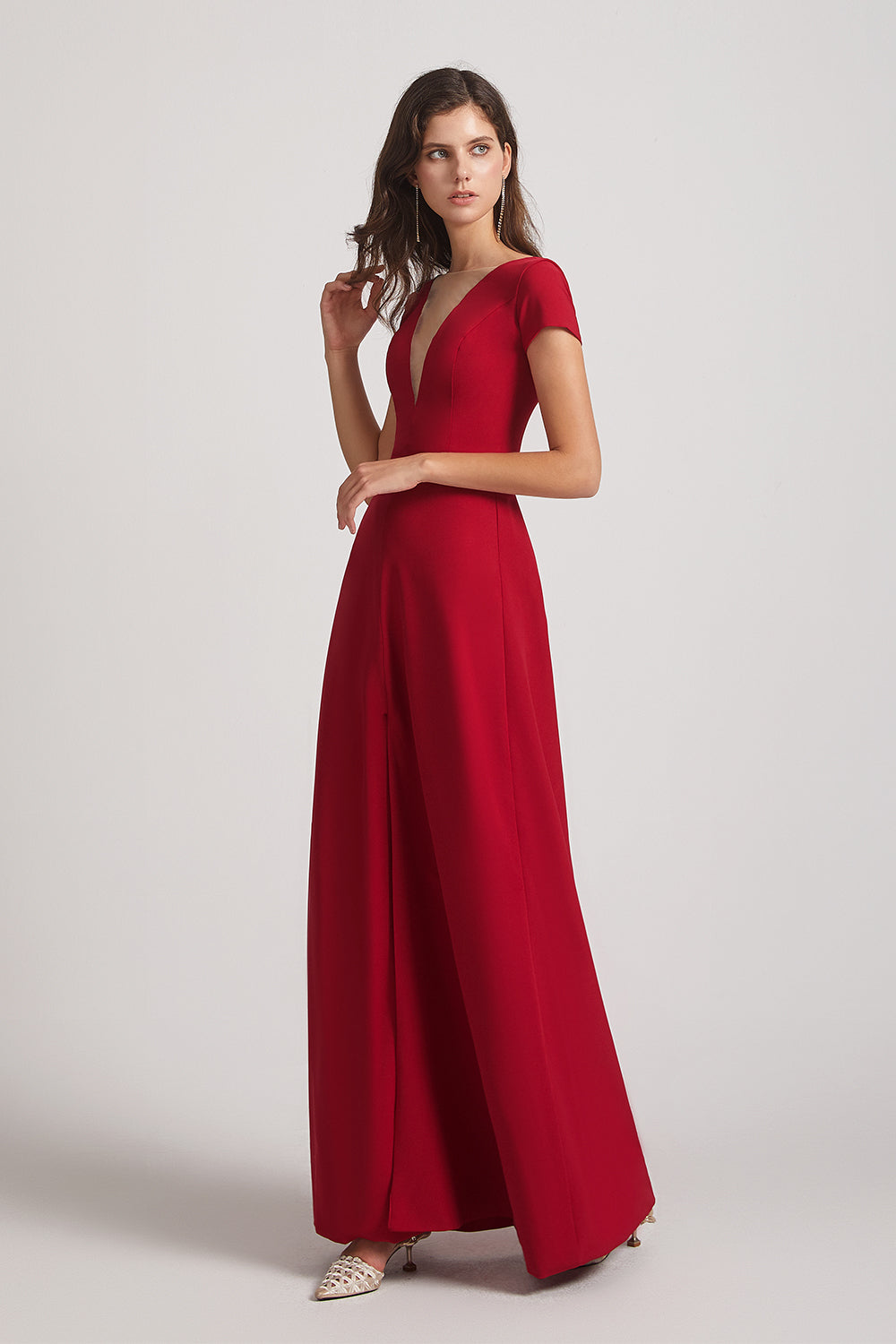 flowy red satin bridesmaids gowns