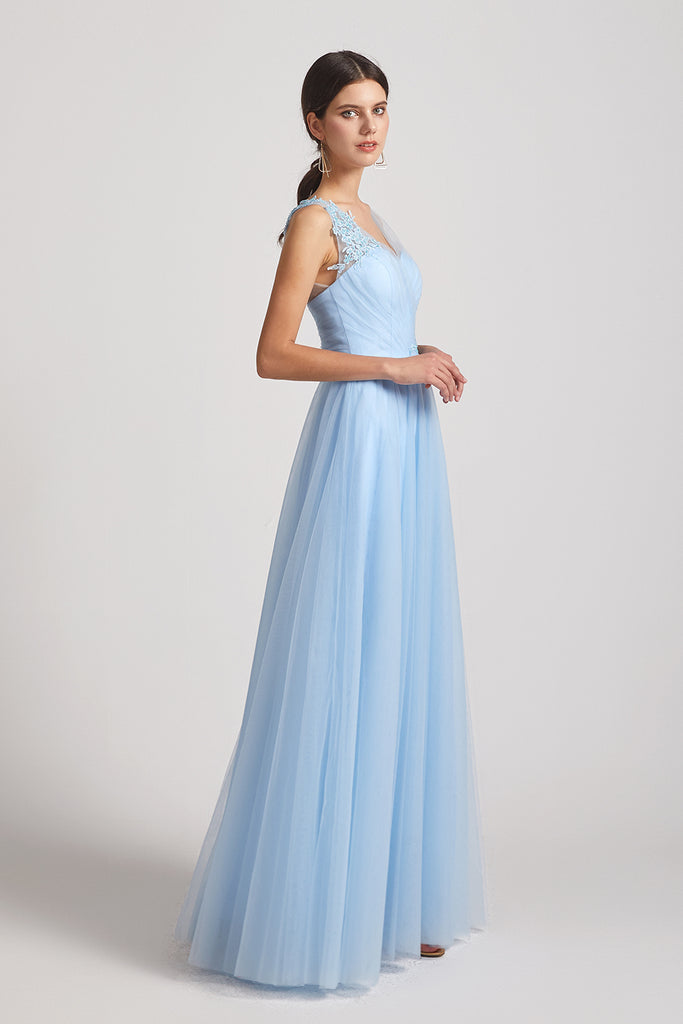 sleeveless ruffles a-line bridesmaid gowns