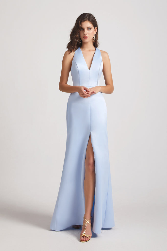 blue slit satin maid of honor dresses