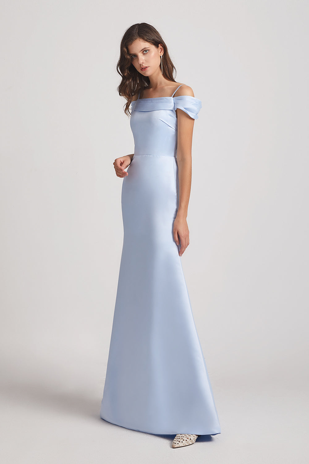 long blue satin maids of honor dresses
