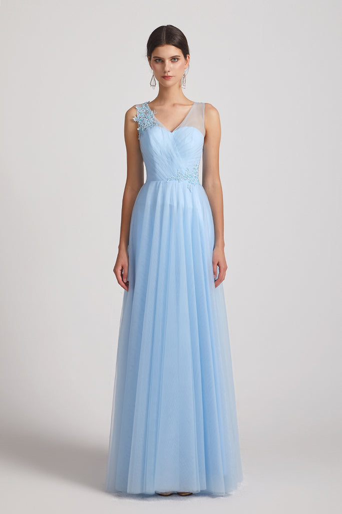 pleated a-line floor length blue tulle dresses