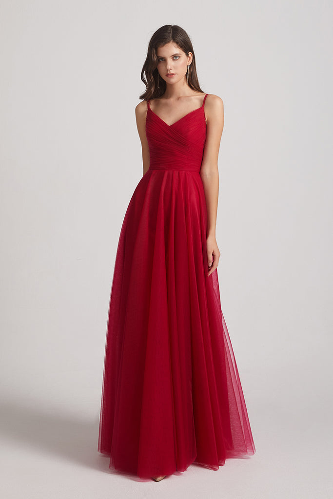 red sleeveless long tulle bridesmaid gown