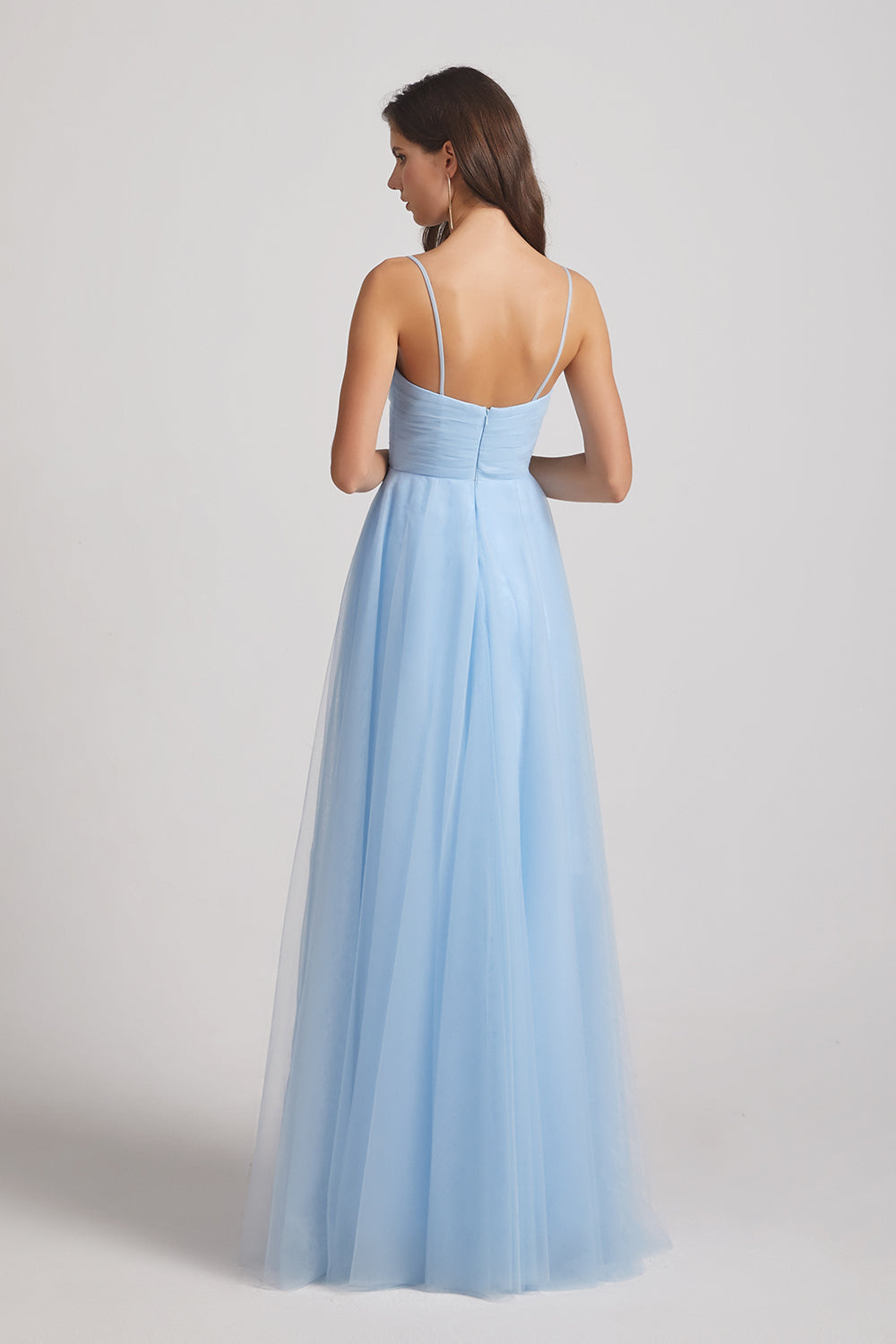 open back zipper-up bridesmaids gown