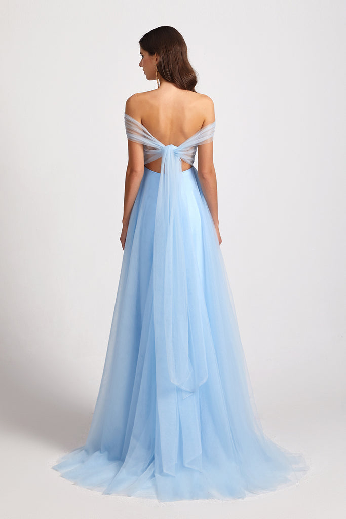backless a-line tulle bridesmaid gown