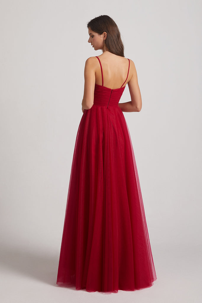dark red tulle prom dresses