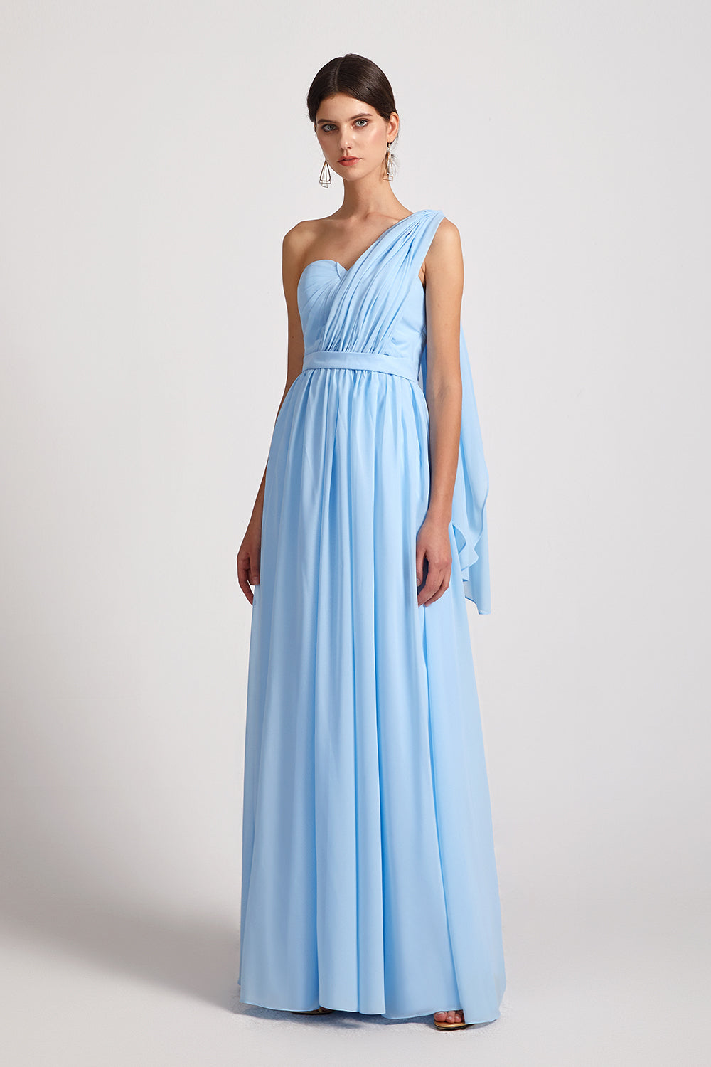 ruched blue long chiffon infinity gowns