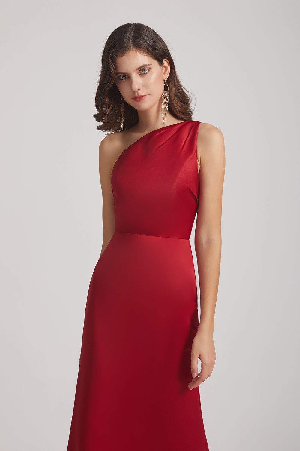 one shoulder red  satin bridesmaid gown