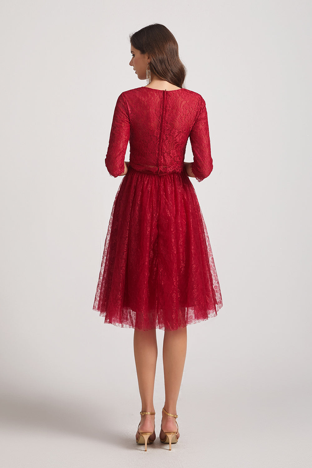 lace short a-line red maid of honor dresses