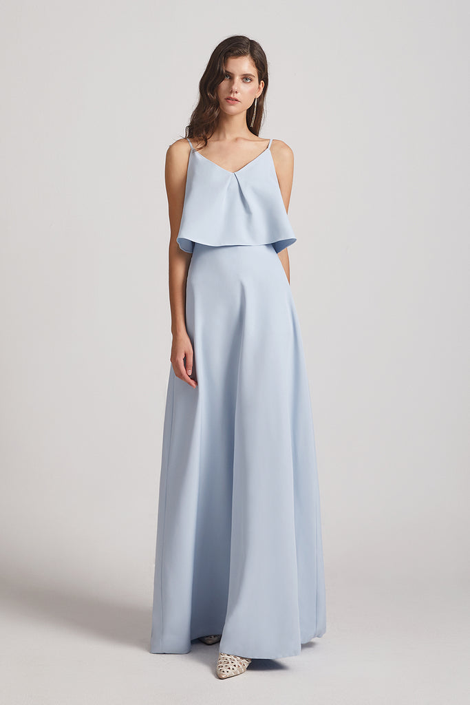long blue satin maid of honor dress