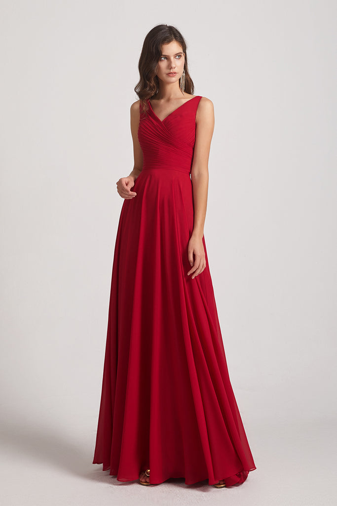 ruched red chap long gowns