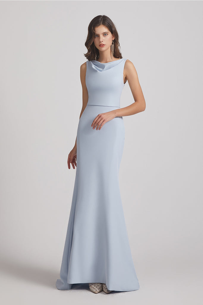 cowl fitted sleeveless bridesmaid gown