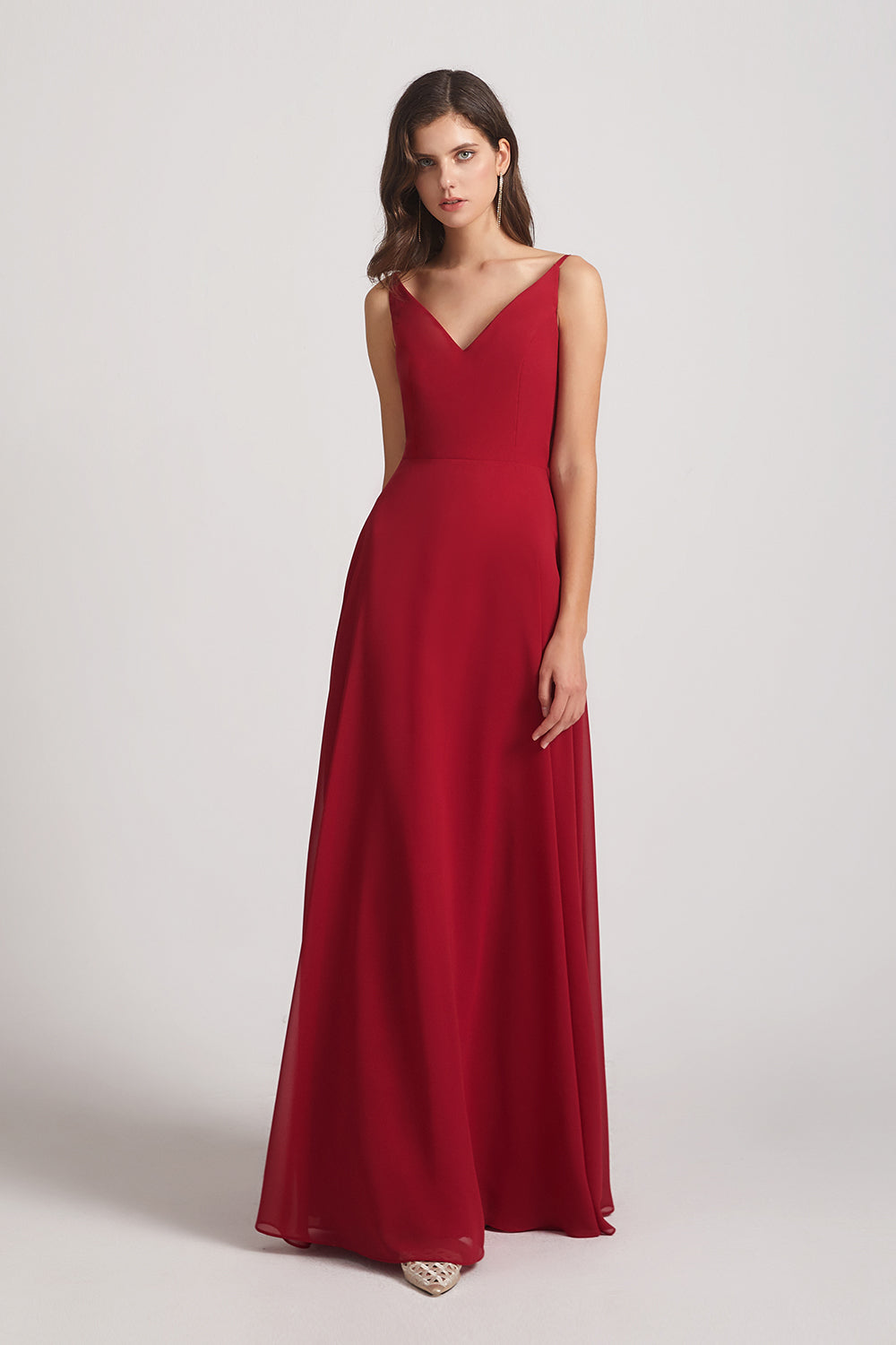 v-neck sleeveless cheap chiffon gown