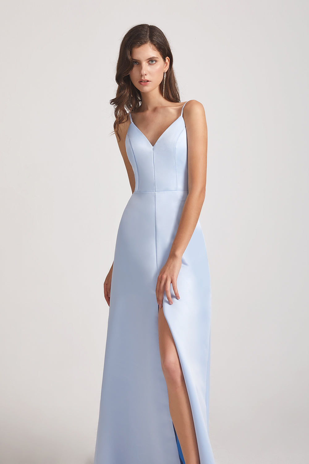 front slit satin maid of honor dress
