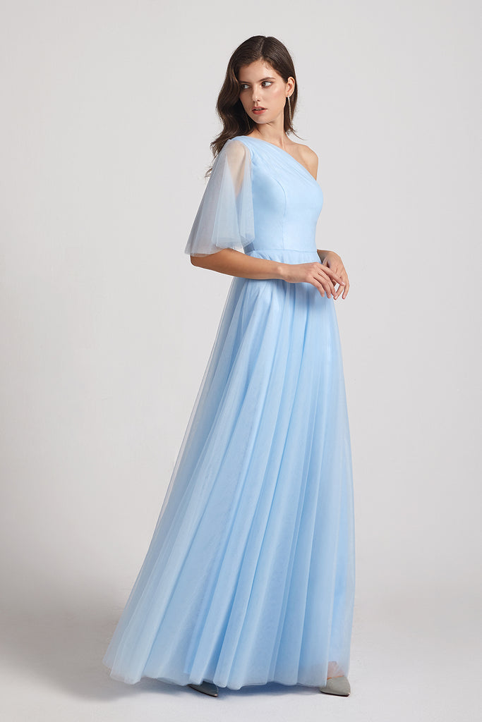a-line flutter sleeve long gowns for bridesmaids