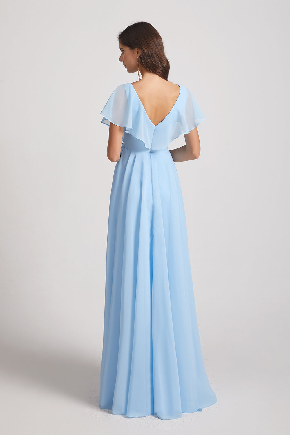 v-back chiffon ruched bridesmaids gown
