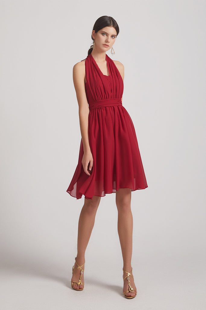 convertible red chiffon  bridesmaid dress