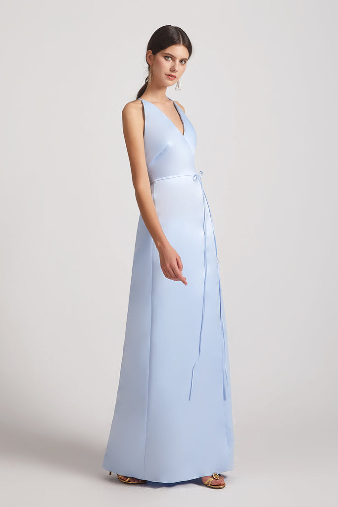 sleeveless a-line satin bridesmaids gown