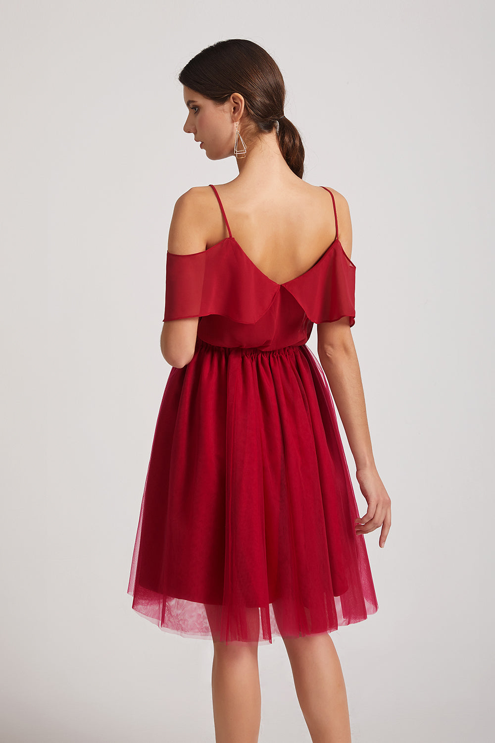 cold shoulder chiffon maid of honor dress
