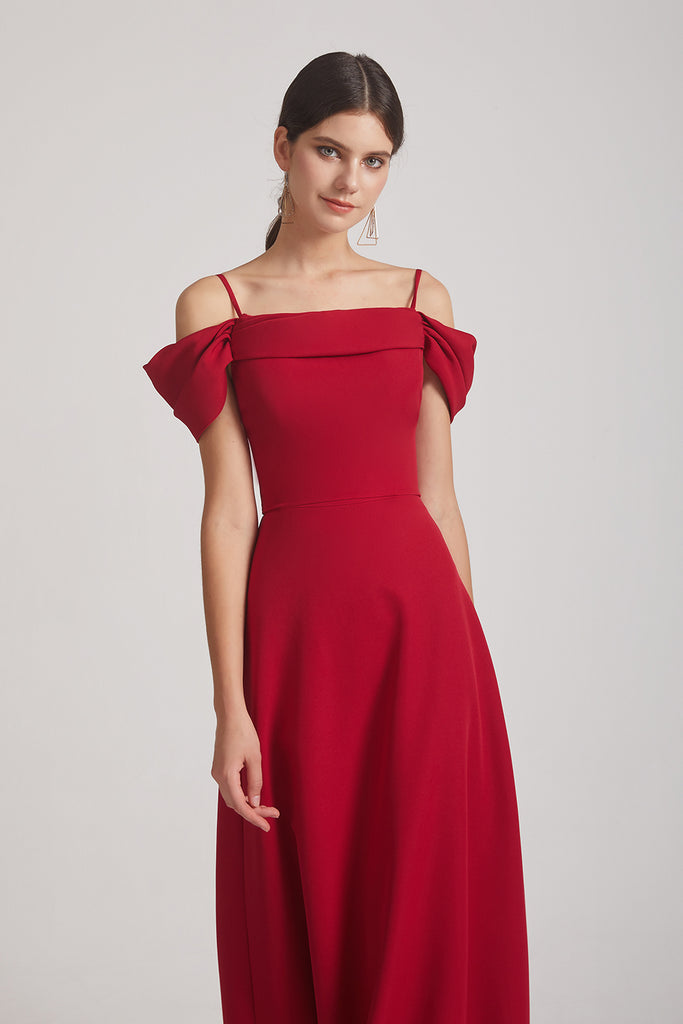 a-line red  long satin bridesmaid gowns