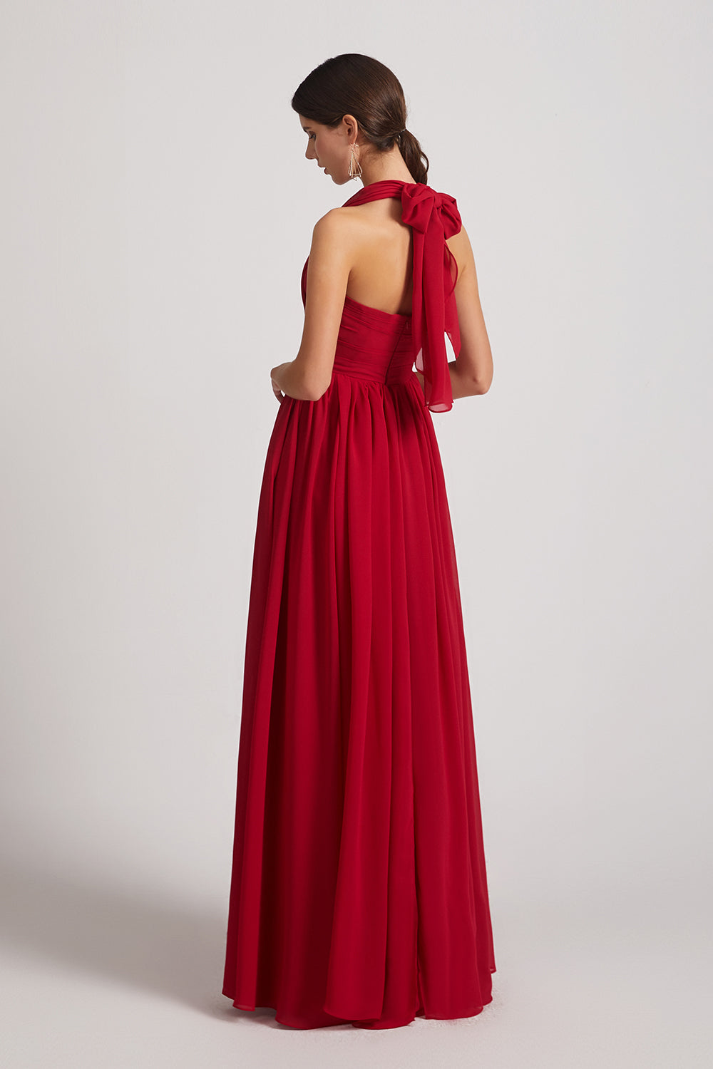 open back chiffon maxi bridesmaid gowns