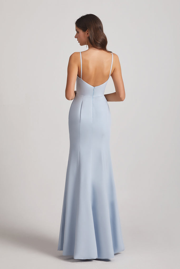 backless fitted maid of honor dress
