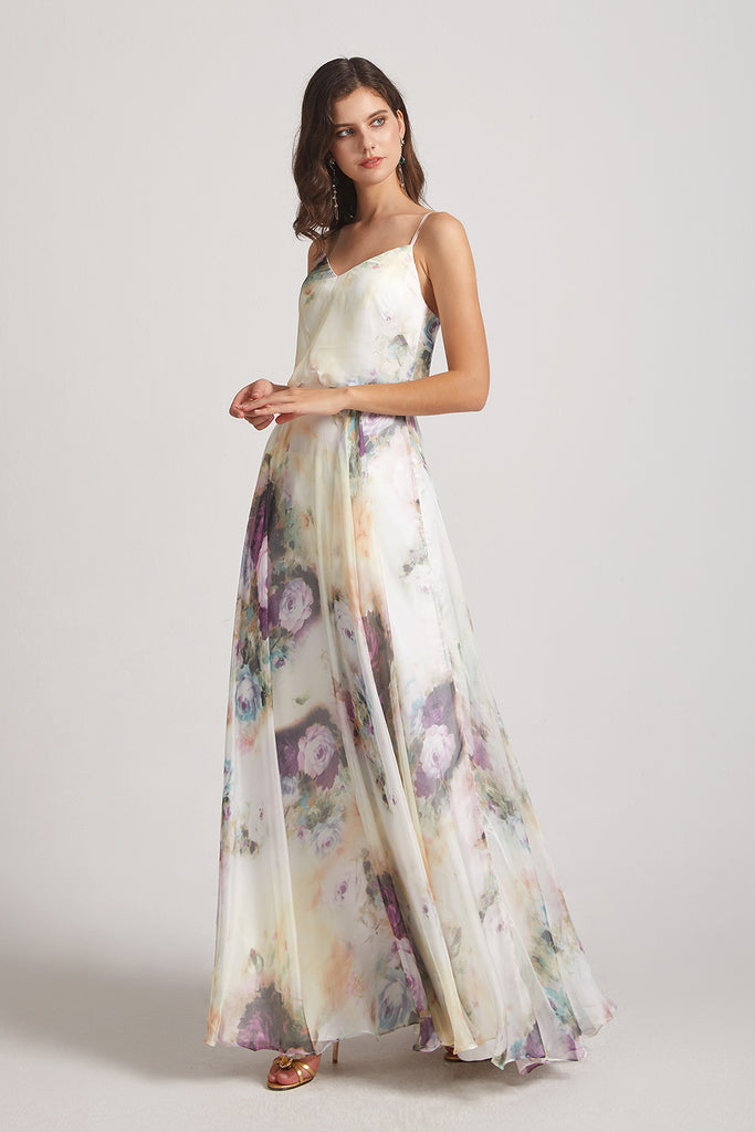 floral sleeveless chiffon maids of honor dresses