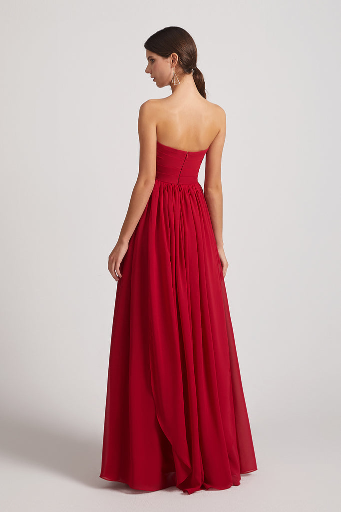 backless a-line chiffon bridesmaid gowns