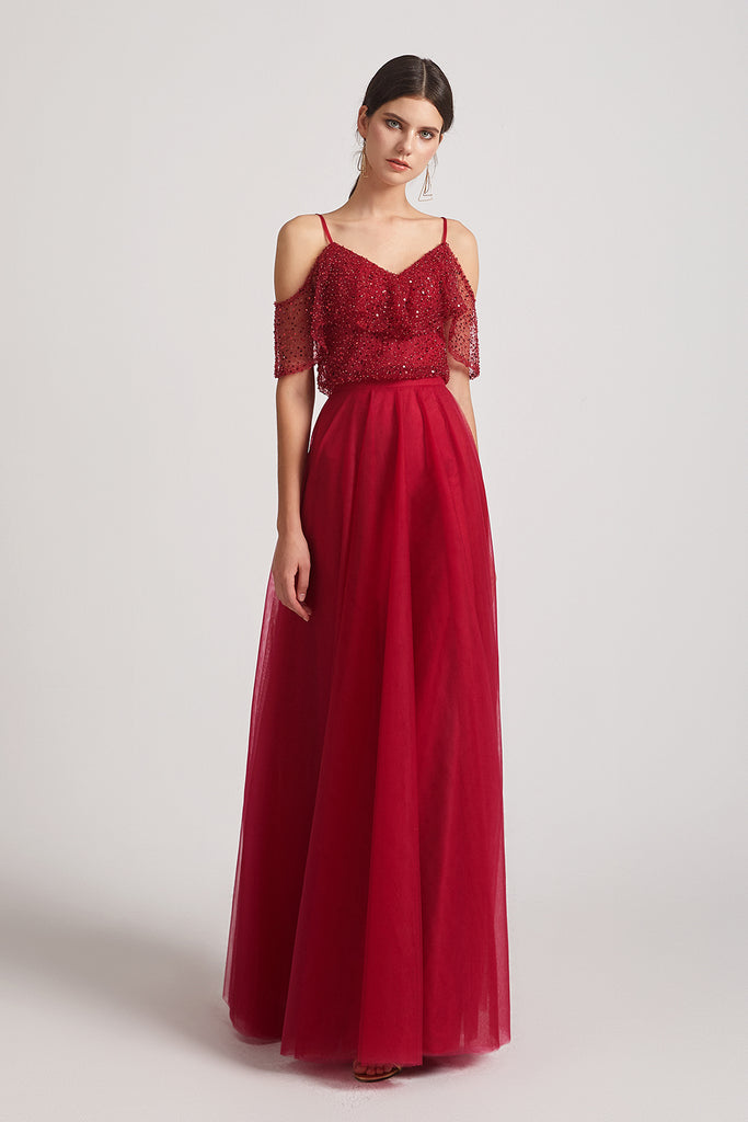 a-line red long sequin bridesmaid gowns