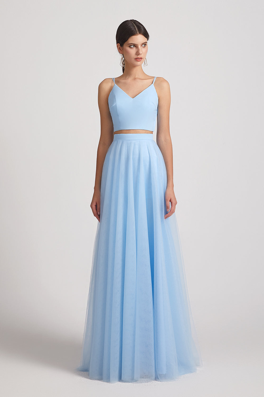 a-line light blue two pieces bridesmaid gowns