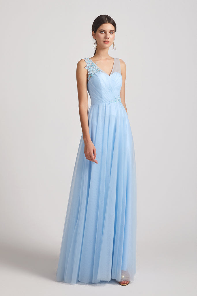 ruched a-line maxi tulle bridesmaids dress