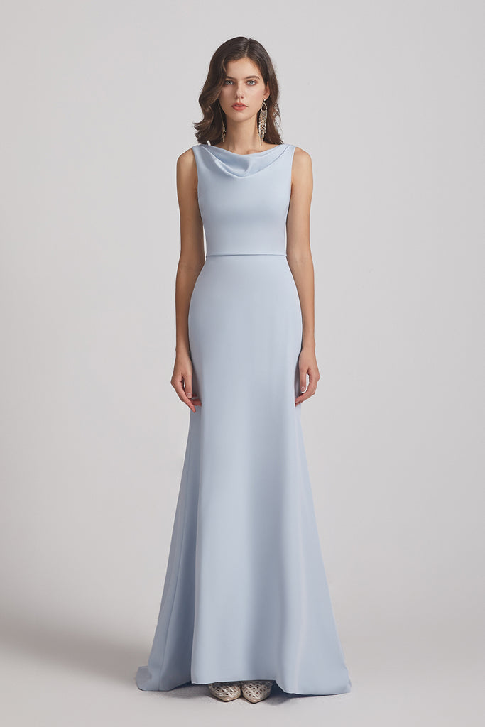 long blue sheath maid of honor dress
