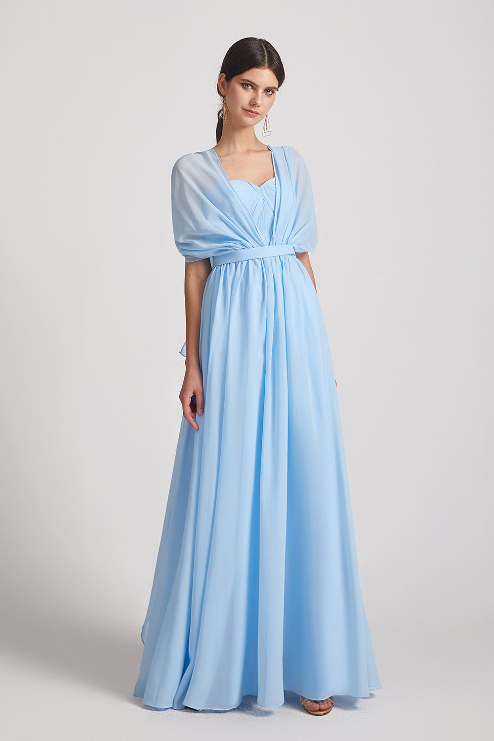 a-line blue chiffon dresses for bridesmaid