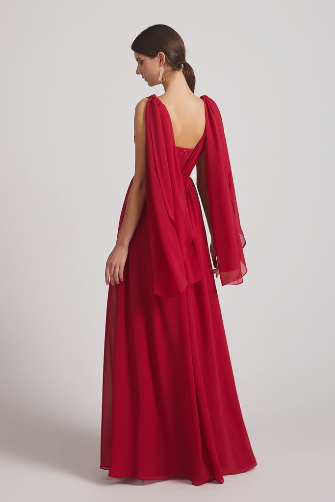 convertible red chiffon ruched bridesmaid dress