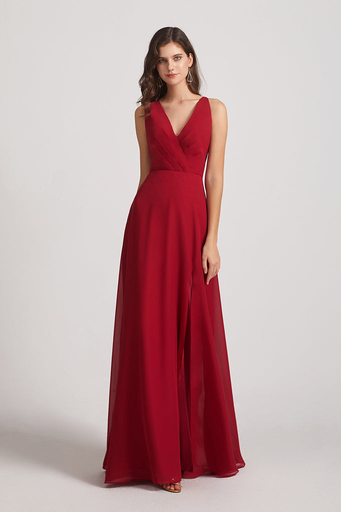 a-line red chiffon maid of honor dress