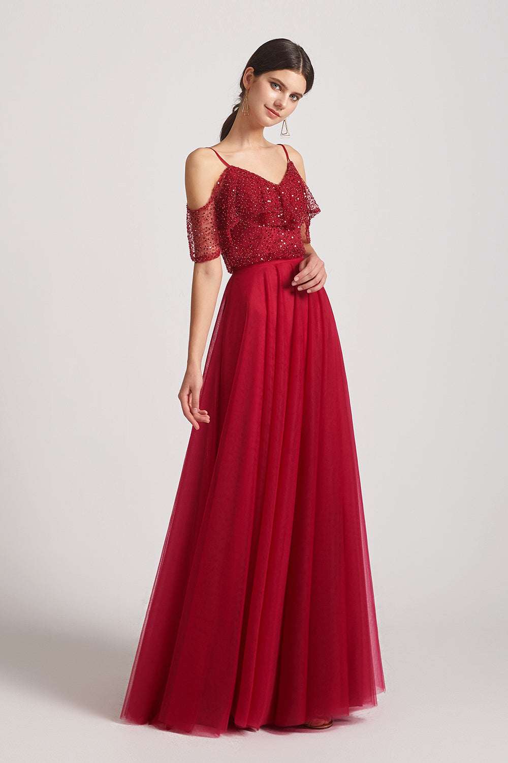 cold shoulder red sequin bridesmaid dresses