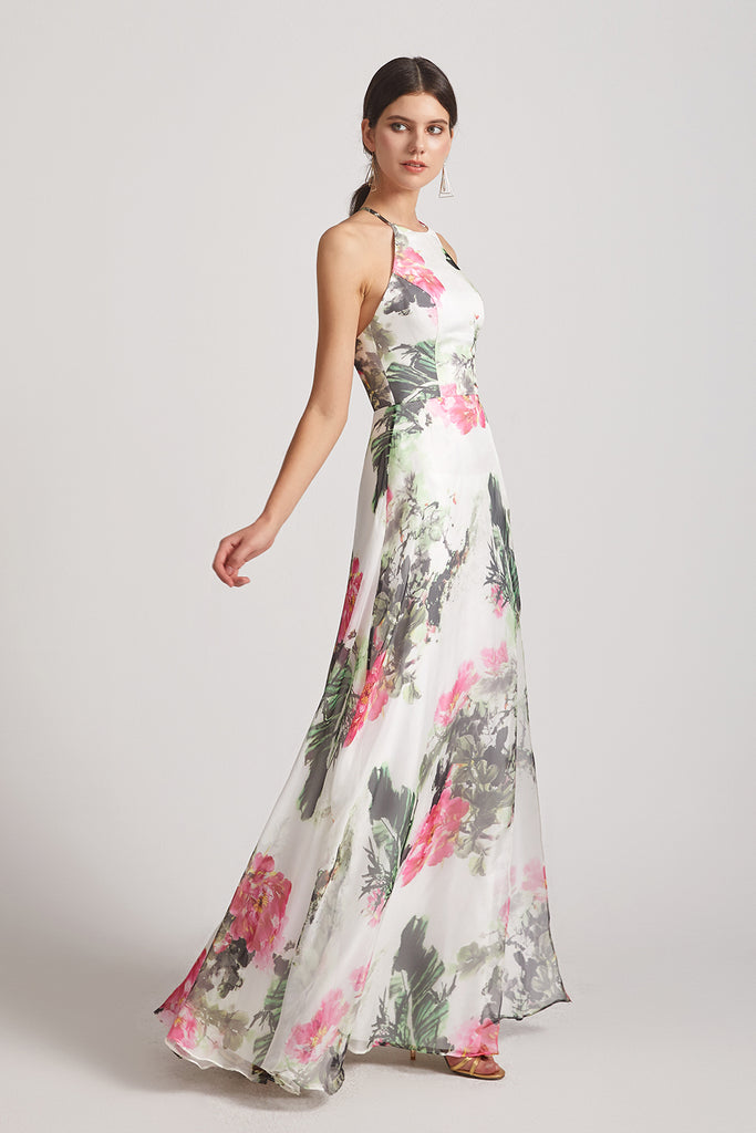 criss-cross straps floral gowns