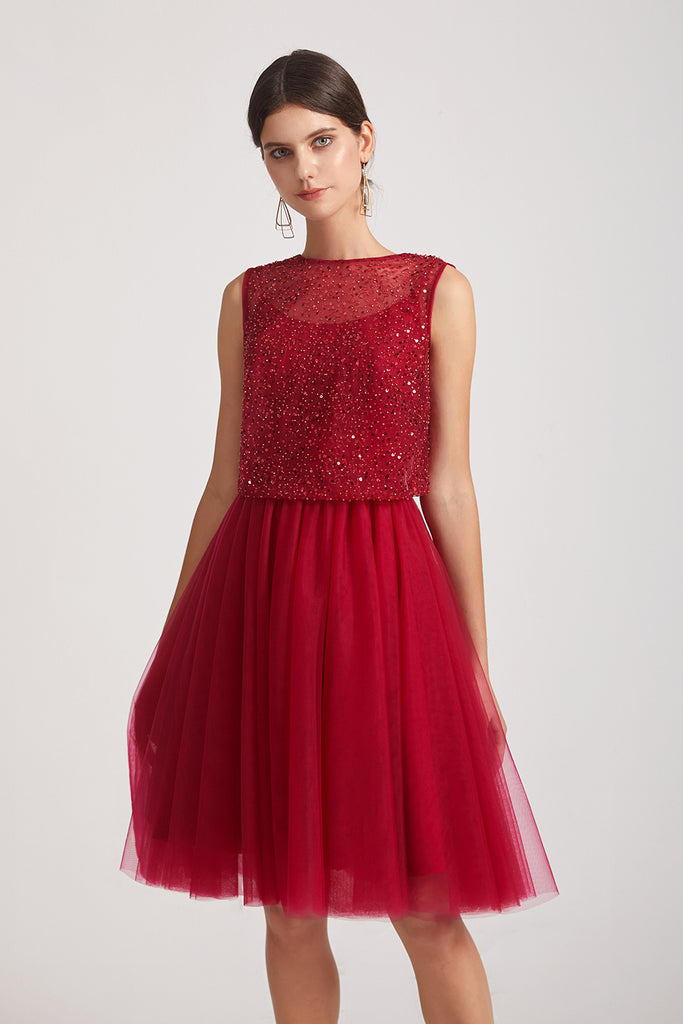 a-line sequin prom dress