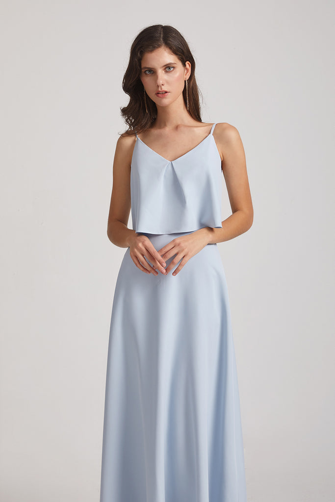 ruched blue long gowns