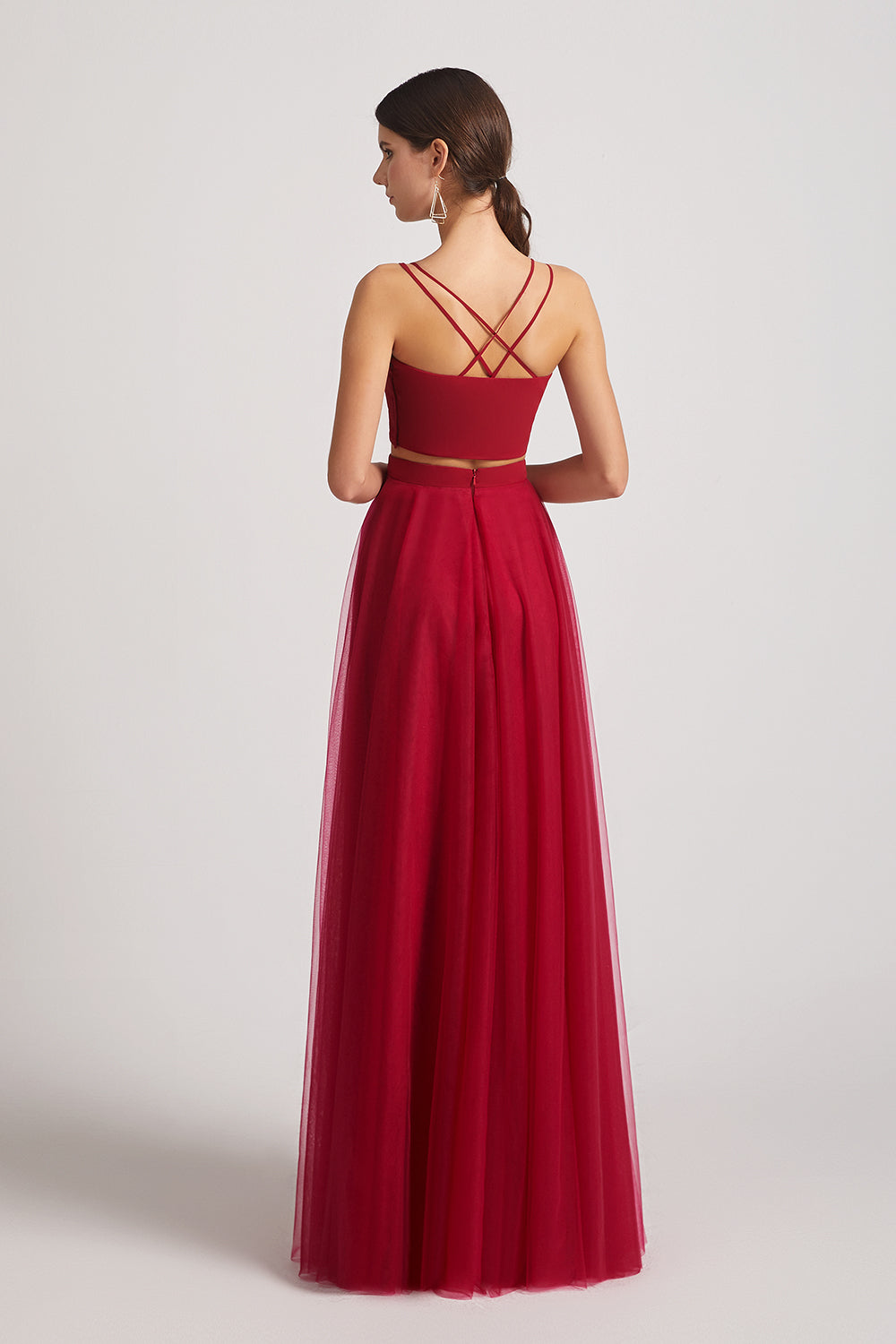 a-line sleeveless two pieces bridesmaid dresses