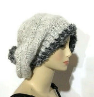 THE SLOUCHY SILVER ALPACA HAT, knitted bonnet, woman's size, andrea designs handmade hats, gift for her, winter wear