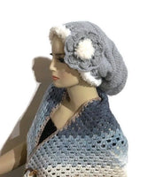 Hat, knit hat, slouchy knit hat, alpaca slouchy knit hat, silver blue, The silver blue alpaca hat, woman size